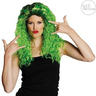 Paruky - Curly long wig green - dámská paruka