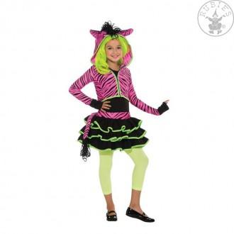 Kostýmy - Neon Pink Zebra Hoody - kostým