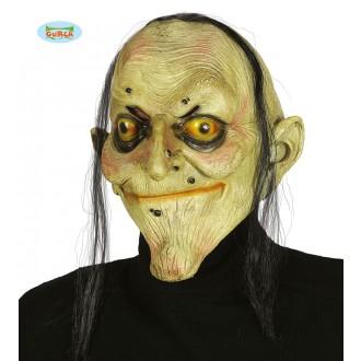 Masky - Latexová maska čarodějnice s vlasy