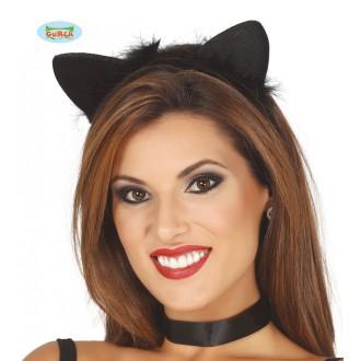 Doplňky - Kočičí uši na vlasové sponě