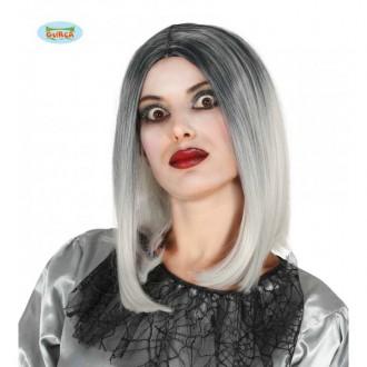 Čarodějnice - Dámská atraktivní paruka Mi-Longue černo-bílá