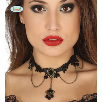 Bižuterie - Černý náhrdelník s černým kamenem