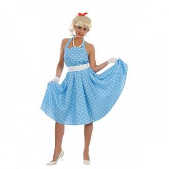 Kostýmy - SANDY - 60 tá léta - modrobílé šaty