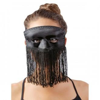 Masky - Domino černé s třásněmi