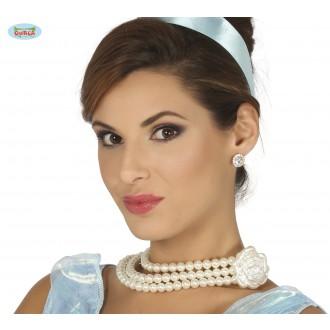 Bižuterie - Perlový náhrdelník s růží