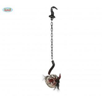 Halloween - Hlava s řetězem na háku