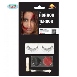 Halloween - Oční set černá-červená