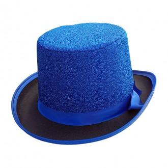 Klobouky, čepice - Cylindr Lurex modrý