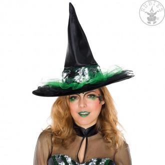 Klobouky, čepice - Čarodějnický klobouk s flitrovým pásem