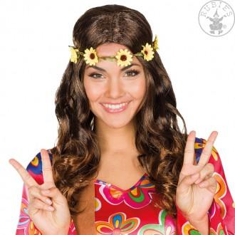 Hippie párty - Dámská paruka hippie hnědá