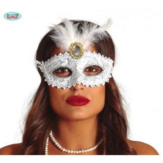 Masky - Bílá maska s broží a peřím