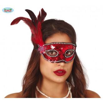 Masky - Červená flitrová maska s peřím