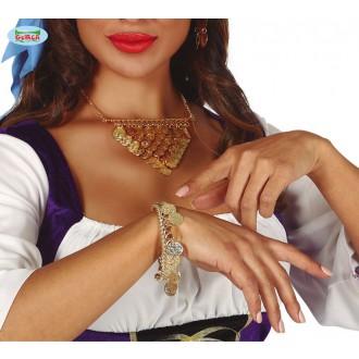 Bižuterie - Náramek s penízky zlatý