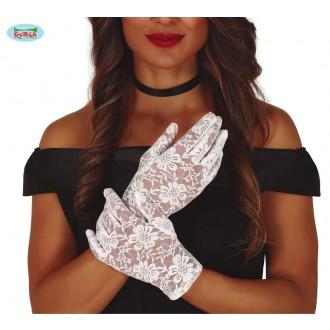 Rukavice - Krajkované rukavice krátké bílé
