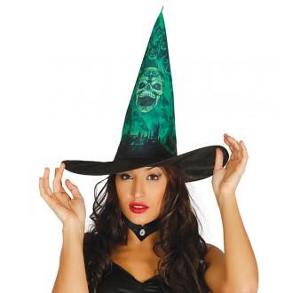 e470f450701 Čarodějnice - Dámský čarodějnický klobouk s potiskem