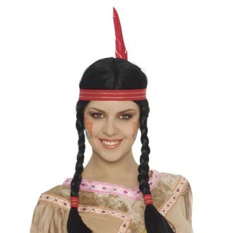 Paruky - Indiánská dámská paruka s čelenkou