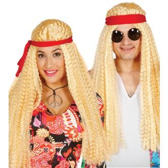 Paruky - Paruka hippie blond se stuhou