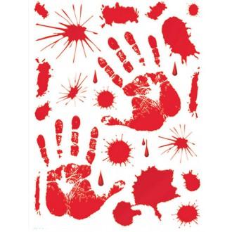 Halloween - Samolepící krevní otisky 30 - 39 cm
