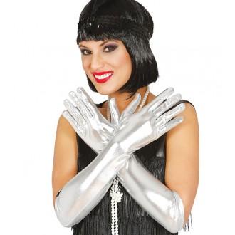 Rukavice - Rukavice dámské stříbrné dlouhé 44 cm