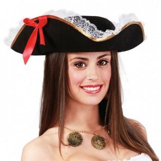 Klobouky, čepice - Pirátský klobouk třírohý s mašlí a krajkou