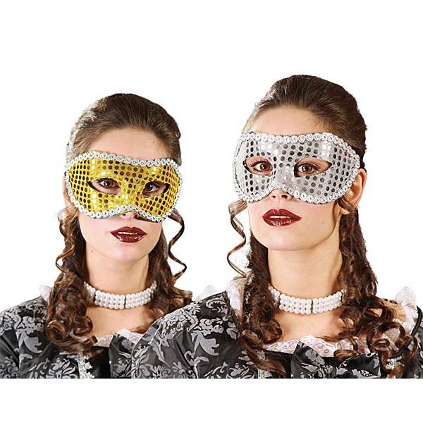 Maska flitrová - zlatá