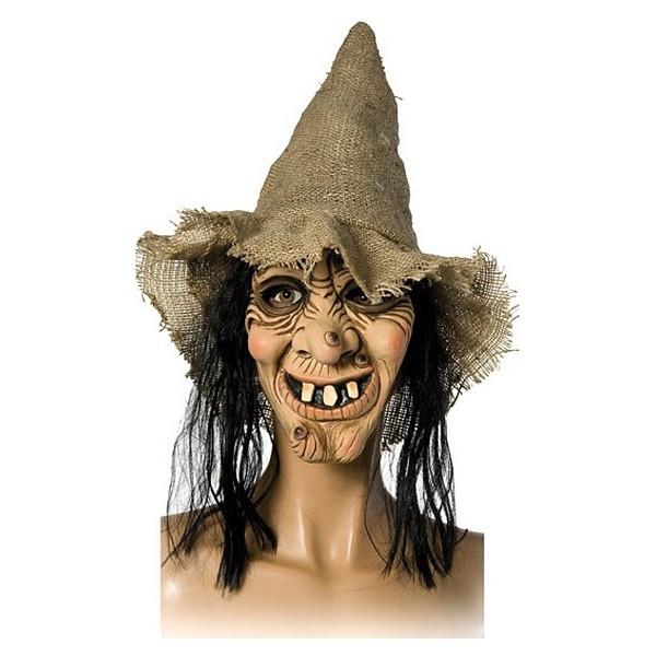 Maska čarodějnice + klobouk s vlasy