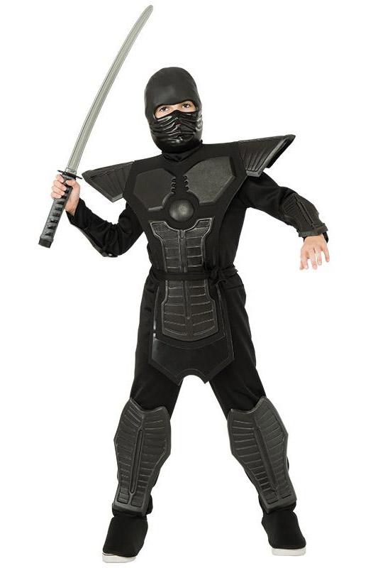 Black Ninja - dětský kostým bojovníka - L 8 - 10 roků