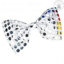 Motýlek flitrový stříbrný