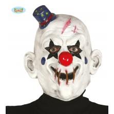 Latexová maska KLAUN bílá s kloboučkem