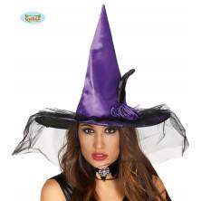Čarodějnický klobouk fialový s ozdobou