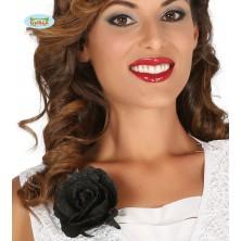 Ozdobná černá růže s klipem