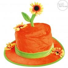 Oranžový klobouk se slunečnicí