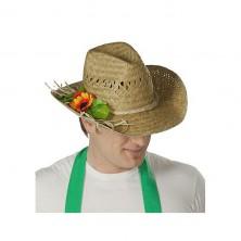 Slaměný klobouk zahradní s ozdobou