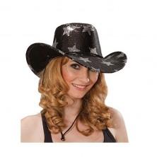 Kovbojský klobouk s hvězdami - černá