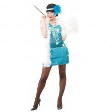 Charleston - modré šaty - 38 - 40