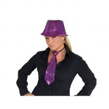 Kravata flitrová - fialová