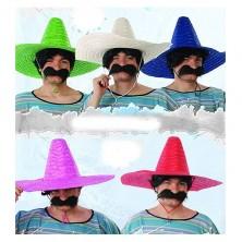 Mexický klobouk slaměný jednobarevný (mix)