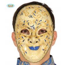Dekorační benátská maska s modrými rty