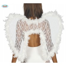 Bílá andělská křídla s labutěnkou