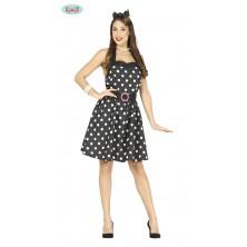 Černé šaty s puntíky - 50-tá léta