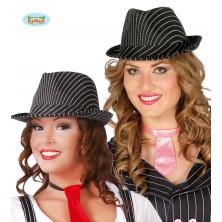Černý proužkovaný klobouk se stuhou