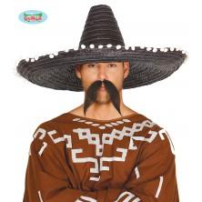 Mexický klobouk 60 cm s pompony černý