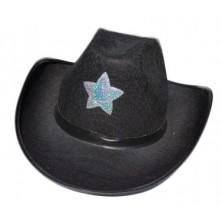 Kovbojský klobouk černý s hvězdou