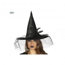 Čarodějnický klobouk černý s ozdobou