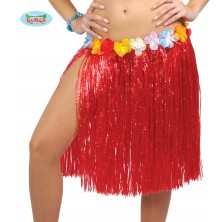 Havajská sukně s květy červená - 50 cm