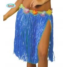 Havajská sukně s květy modrá - 45 cm
