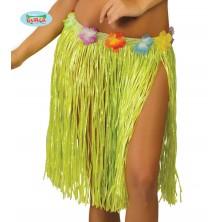 Havajská sukně s květy zelená - 45 cm
