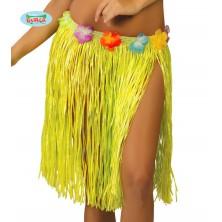 Havajská sukně s květy žlutá - 45 cm