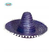 Mexický klobouk 60 cm s pompony modrý