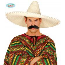 Mexický klobouk 60 cm s pompony přírodní